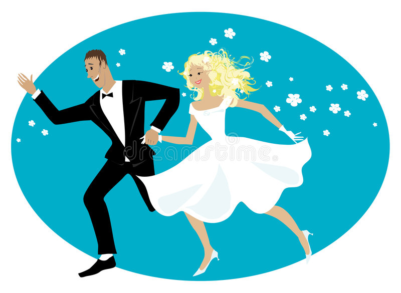 Newlyweds felici illustrazione vettoriale
