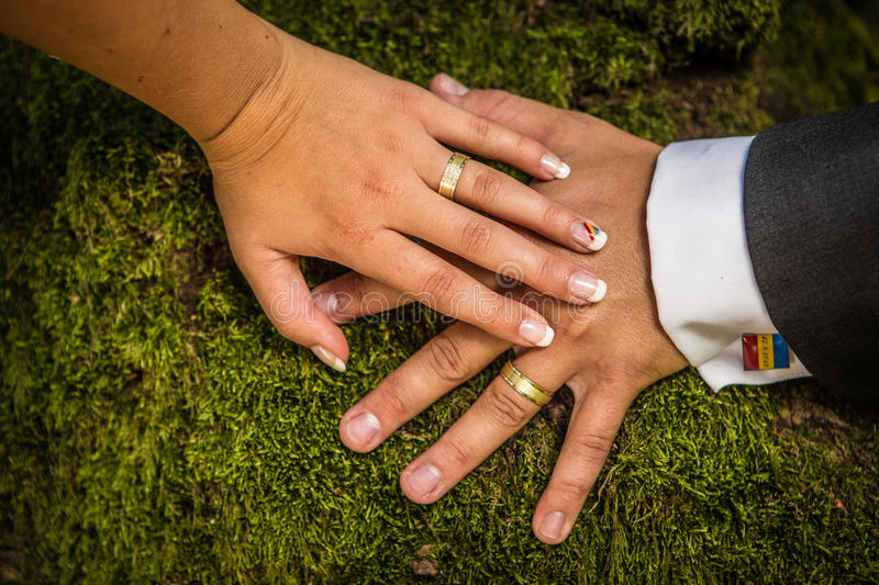 Newlyweds Hands With Rings Stock Photos