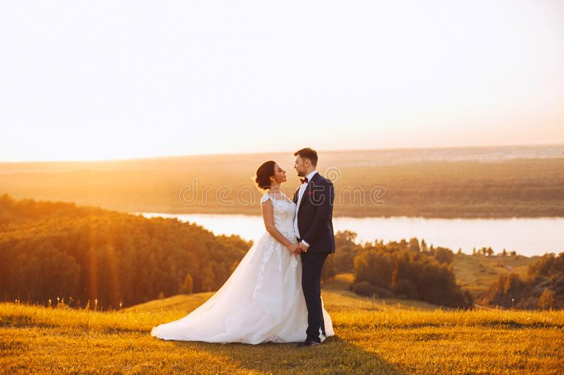 Newlyweds hold hands during a wedding ceremony outdoors. Newlyweds holding hands during the wedding ceremony outdoors at sunset stock images