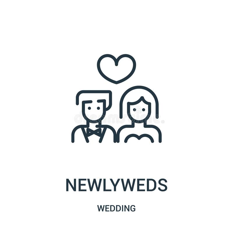 newlyweds icon vector from wedding collection. Thin line newlyweds outline icon vector illustration. Linear symbol for use on web stock illustration