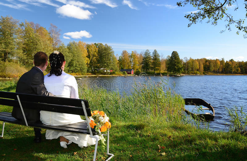 Download Newlyweds on a lake bench stock photo. Image of grass - 21706024