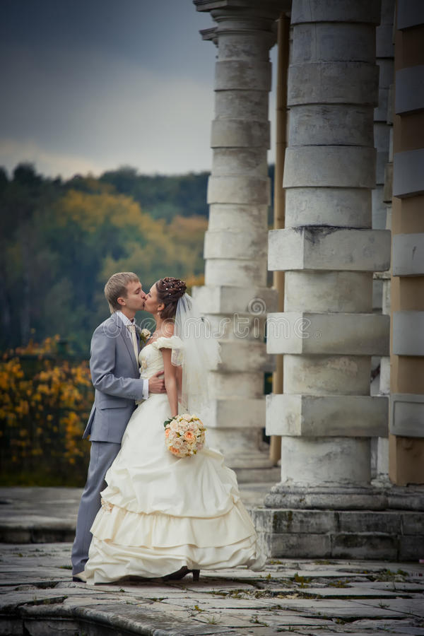 Newlyweds In A Manor Stock Photo