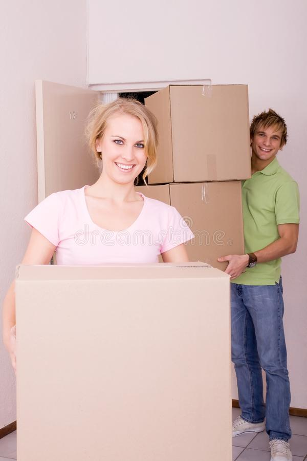 Newlyweds moving in together stock photos