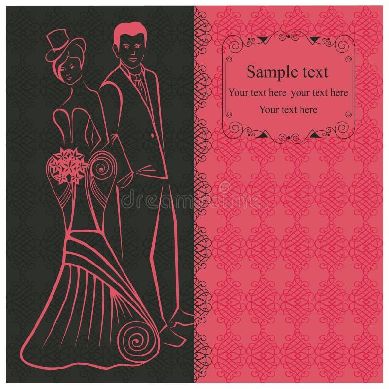 newlyweds Mulher no vestido à moda no chapéu alto Convite cor-de-rosa ilustração royalty free