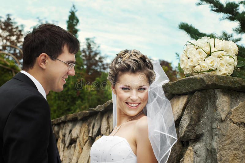 Newlyweds Outdoors Stock Images