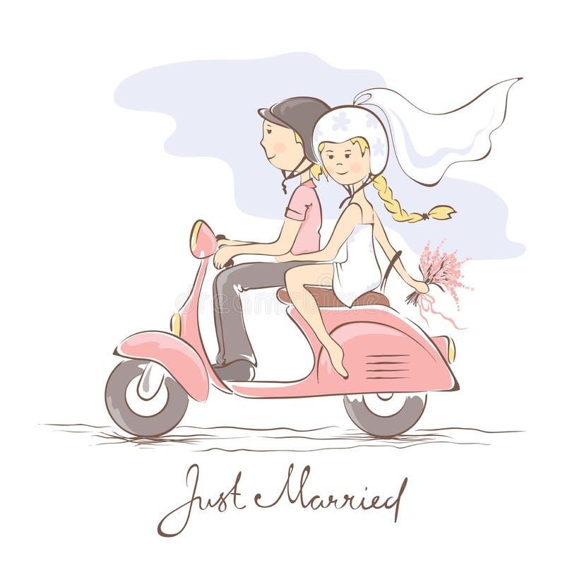 Newlyweds on a scooter. Illustration -- newlyweds in helmets on a scooter stock illustration