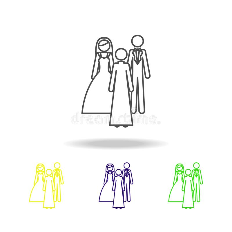 newlyweds and shepherd multicolored icon. Element of wedding, thin line multicolored icon can be used for web, logo, mobile app, vector illustration