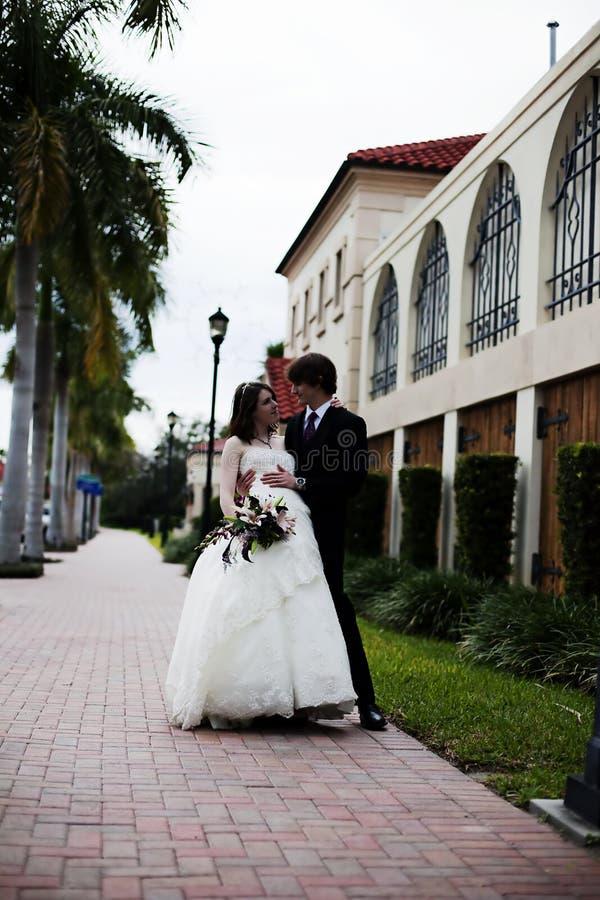 Download Newlyweds on sidewalk stock image. Image of gown, groom - 12512675