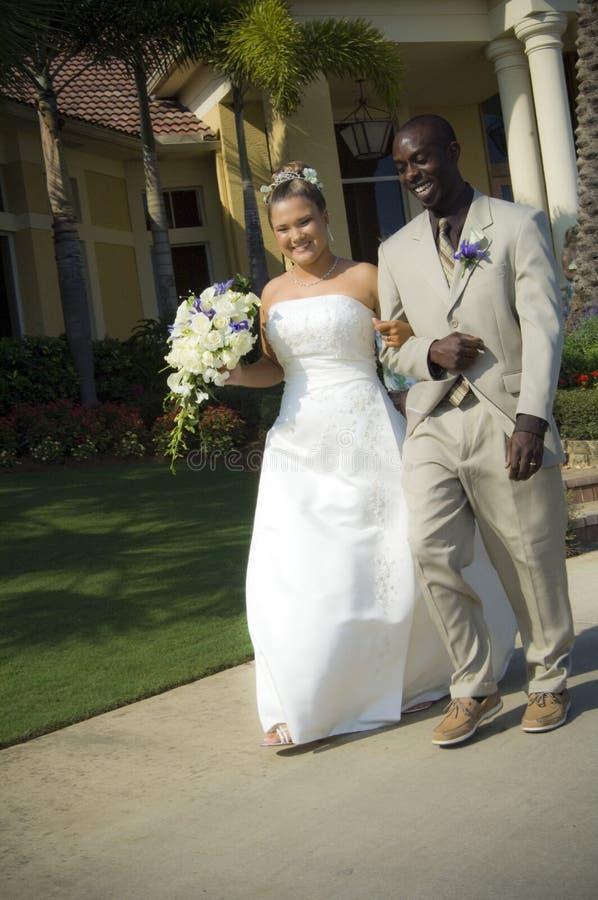Newlyweds On Sidewalk Stock Photography