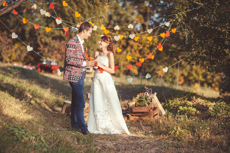Newlyweds smile at each other royalty free stock photo