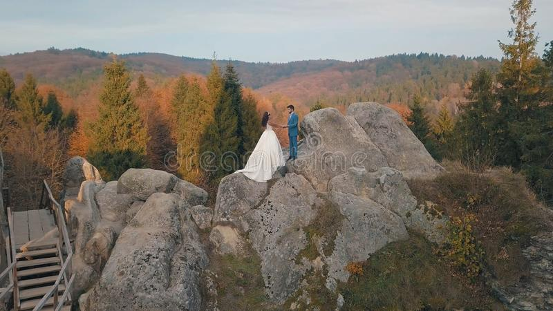 Newlyweds stand on a high slope of the mountain. Groom and bride. Arial view royalty free stock photos