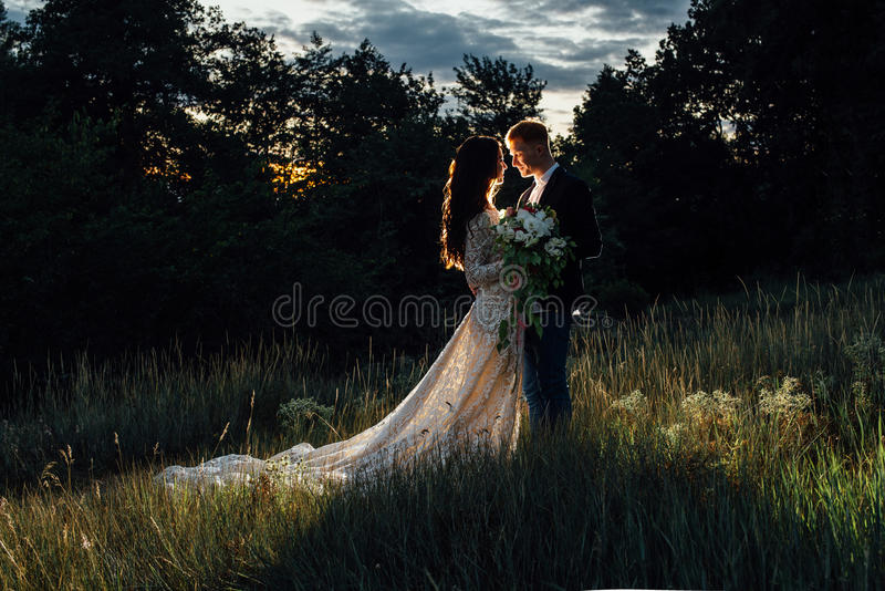Newlyweds standing and hugging outdoors. Newlyweds are standing and hugging outdoors, backlight, low key stock image
