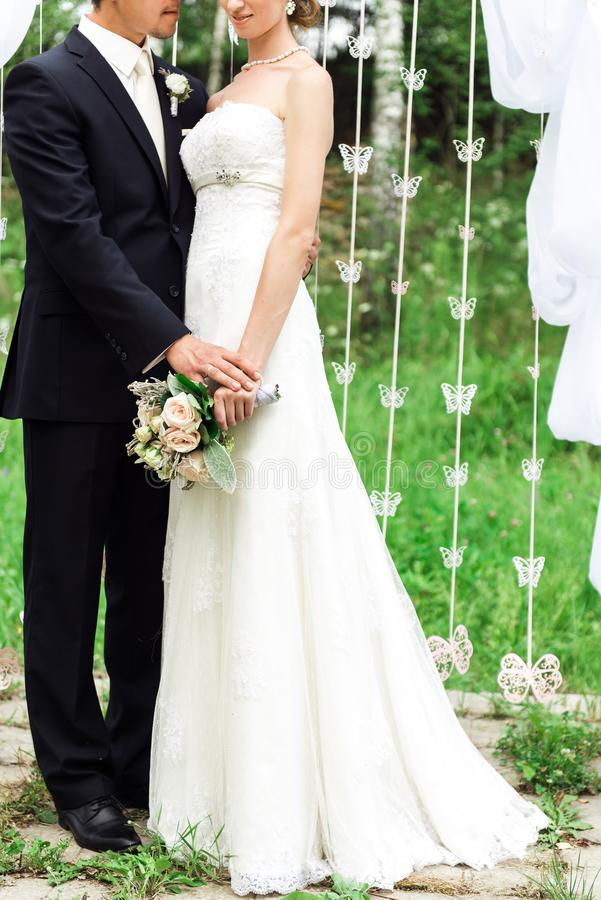 Picture of newlyweds standing together royalty free stock photo