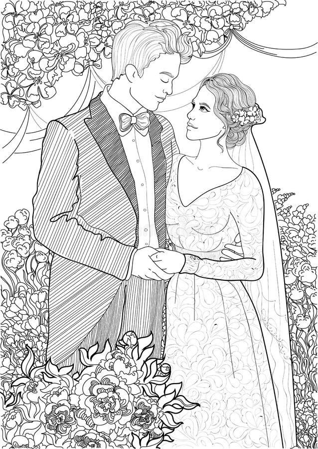 Download Newlyweds stock illustration. Image of love, black, just - 83721357