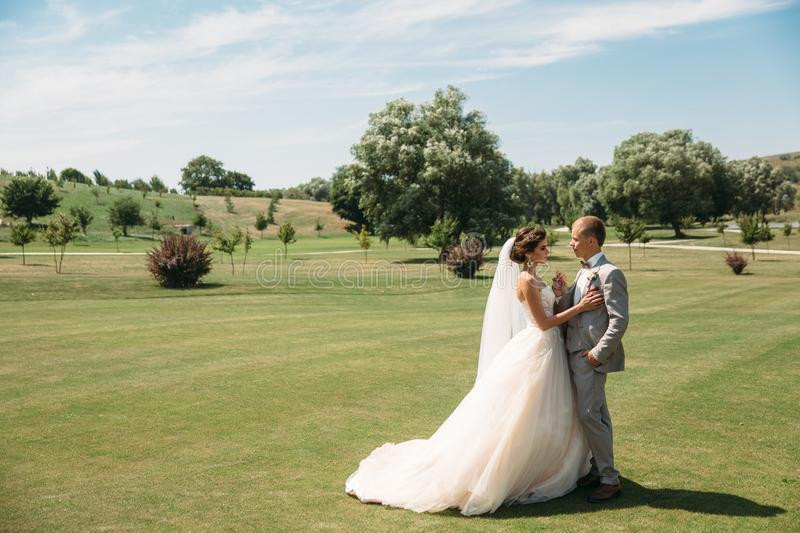 The newlyweds are walking along the golf course with green grass. The groom holds the bride`s hand. Beautiful couple on. Wedding day for a walk. Girl in luxury stock photos