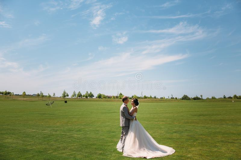 Newlyweds are walking along the green field of the golf club on a wedding day. The groom in a business suit is gray and. The bride in a luxury white dress with stock images