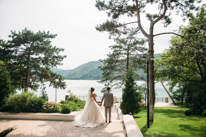 Newlyweds are walking outdoors on a wedding day. The groom in a gray suit with a white shirt and a bow tie holds a. Beautiful bride in her hand with a luxurious stock photos