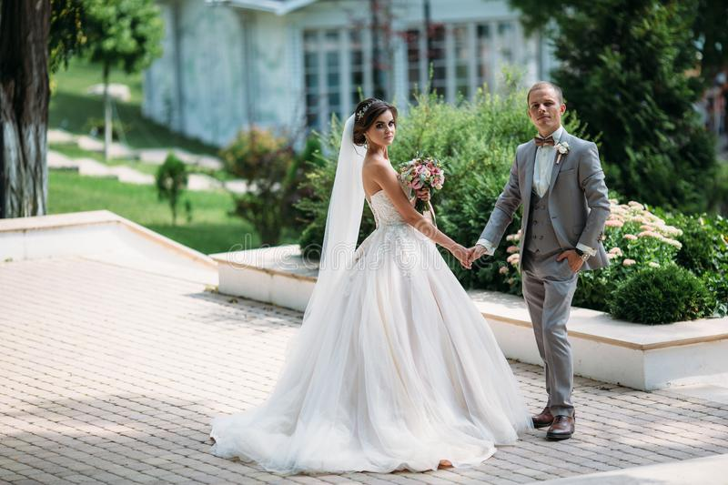Newlyweds are walking outdoors on a wedding day. The groom in a gray suit with a white shirt and a bow tie holds a. Beautiful bride in her hand with a luxurious royalty free stock photo