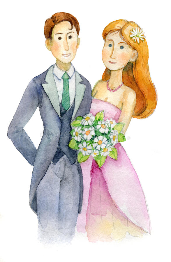 Newlyweds, wedding, bride and groom, engaged couple, Wedding Party invitation, greeting card, watercolor, aquarelle vector illustration