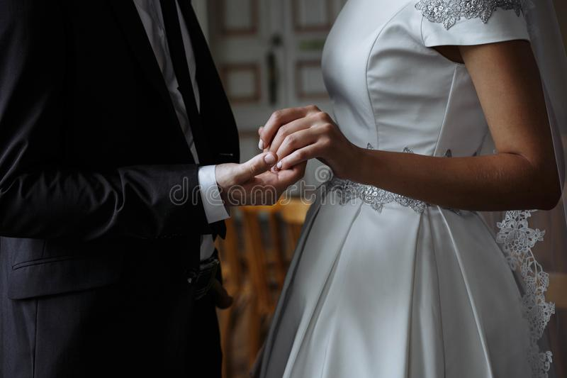 Newlyweds, before the wedding. In love, took each other`s hands royalty free stock photos