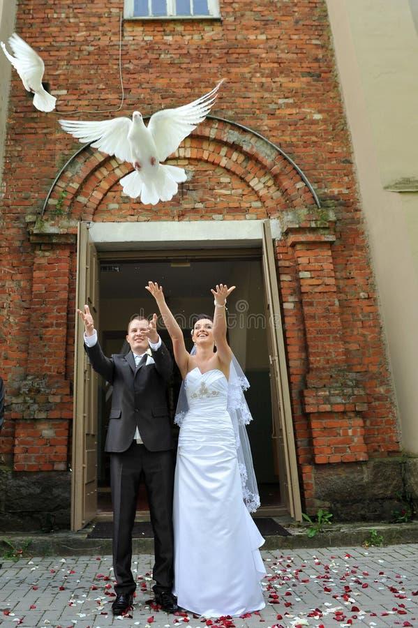 Free Newlyweds With Doves Stock Photo - 21901250