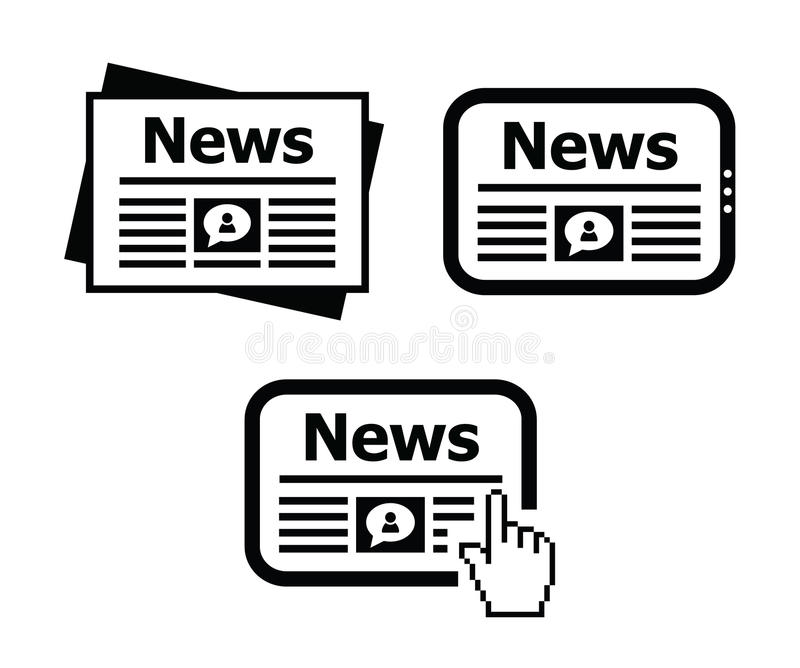 Newpaper, News On Tablet Icons Set Stock Image