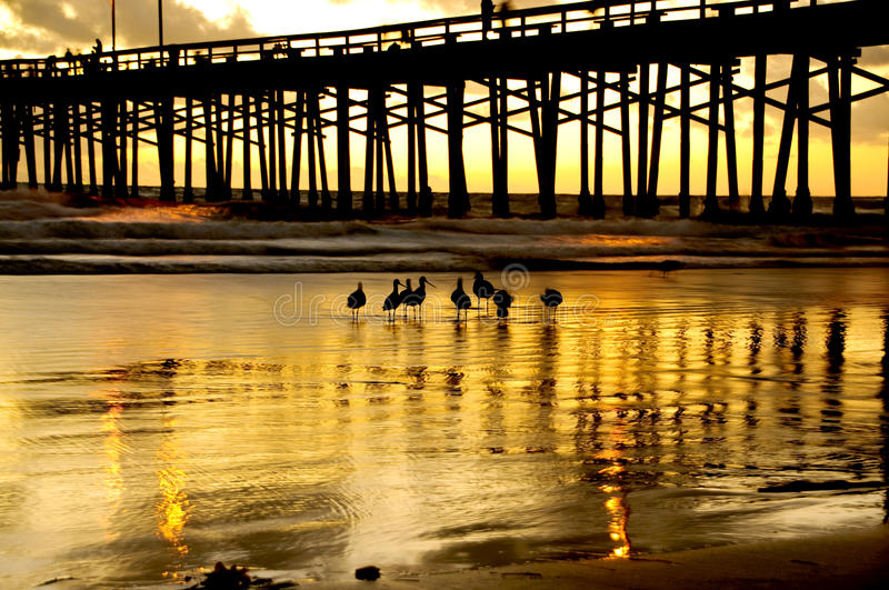 Newport beach. The golden sun setting behind the pier in Newport Beach,CA royalty free stock photo