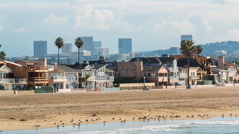Newport Beach California 3. The coastline of Newport Beach, California on a hazy sunny morning with the Irvine city skyline in the distance royalty free stock photos