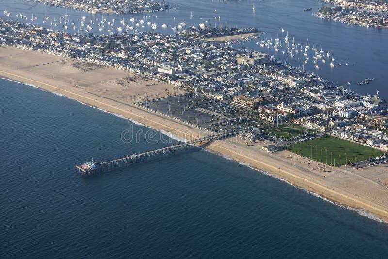 Newport Beach mola Powietrzny orange county Kalifornia obraz stock