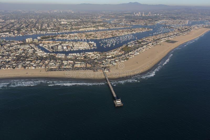 Newport Beach molo i schronienie antena zdjęcie stock