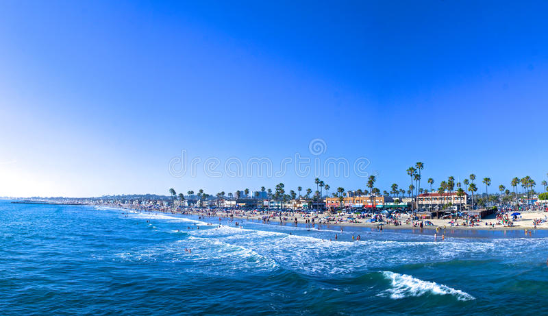 Newport Beach Panorama. Panorama of Newport Beach in California teaming with tourists royalty free stock photos