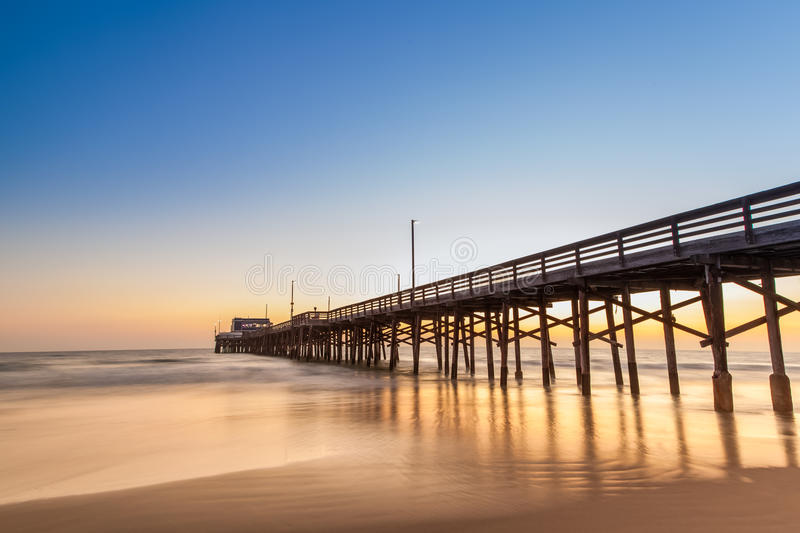 Newport Beach pier at sunset time stock image