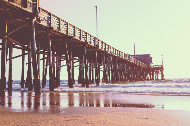 Newport Beach pier in vintage tone. California stock images