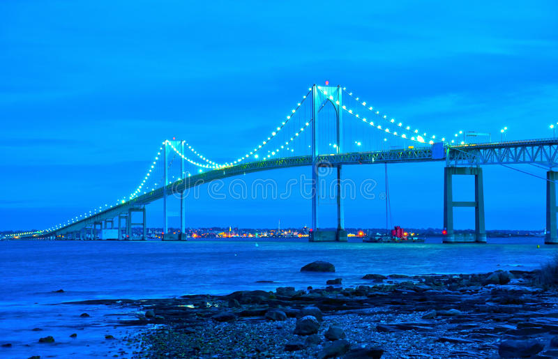 Newport bridge. In Rhode Island over ocean with beautiful blue sky stock images