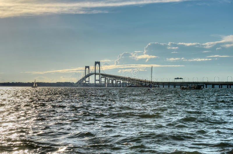 Newport Bridge - Rhode Island. Newport Bridge from near Jamestown, Rhode Island, USA stock photos
