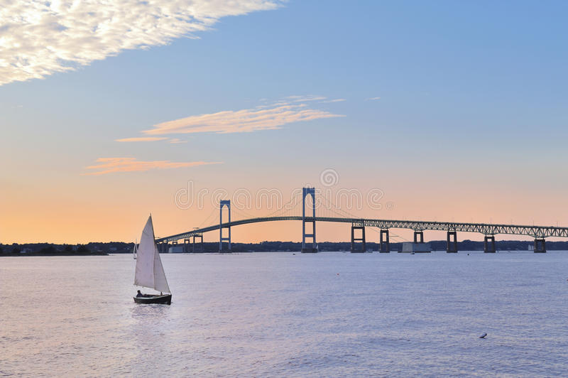 Newport Bridge Sailboat at Twilight Rhode Island stock photo