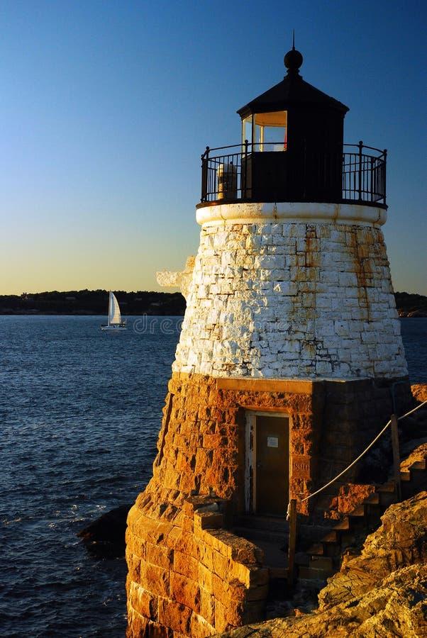Newport, Grodowa wzgórze latarnia morska fotografia royalty free