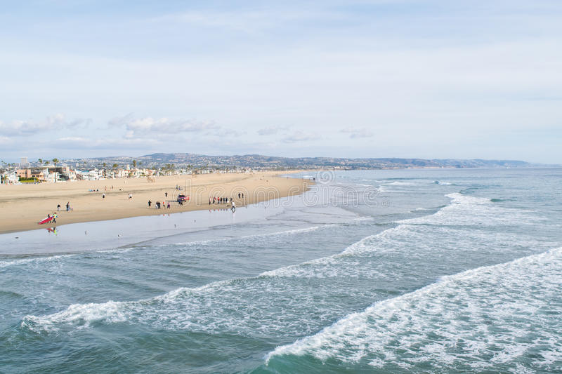 Newport harbor beach with waves. In foreground stock image