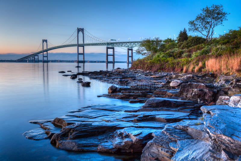 Newport mosta wschód słońca zdjęcie stock