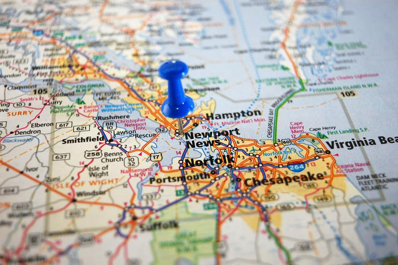 Newport News, Virginia. A map of Newport News, Virginia marked with a push pin royalty free stock photography