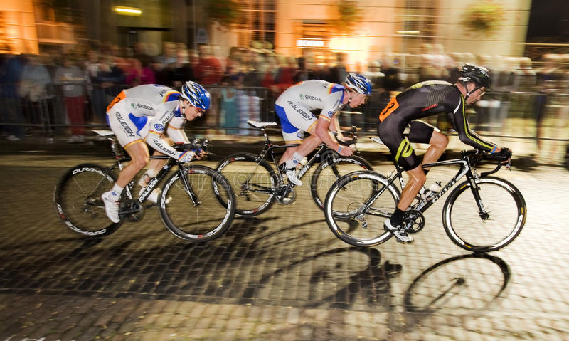 Newport Nocturne 2012. Britain's best flood lit road bicycle race Men's race The main group royalty free stock photo