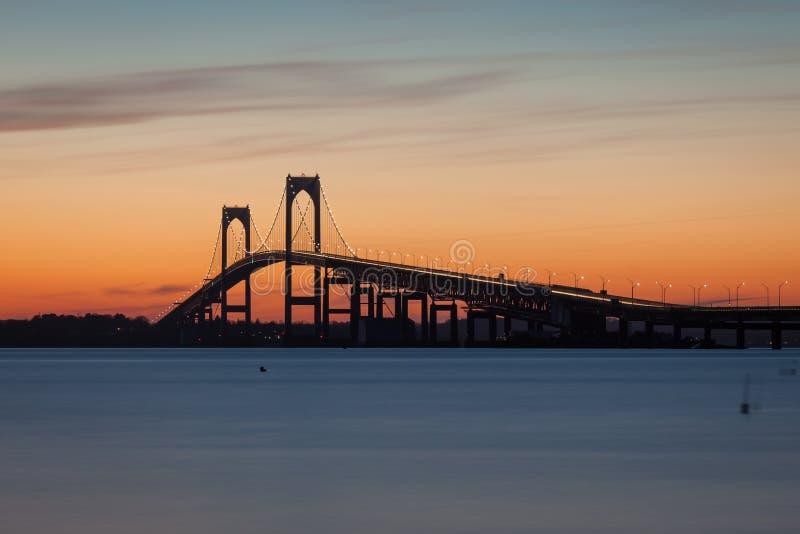 Newport Pell Claiborne most Rhode - wyspa zdjęcia royalty free