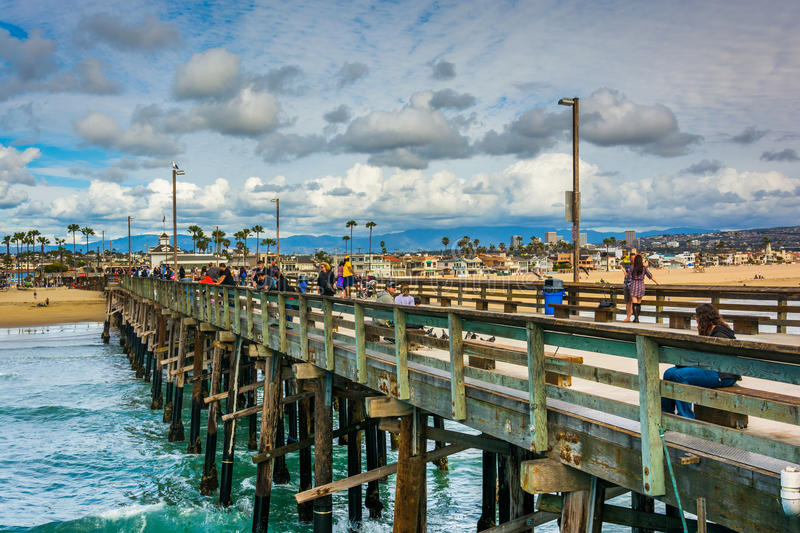 The Newport Pier, in Newport Beach. California stock photography