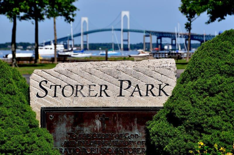 Newport, RI: Ponte do parque e do Newport do Storer imagem de stock