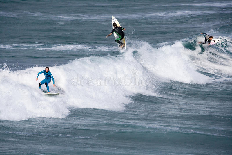 newquay Cornwall surfing England obrazy stock
