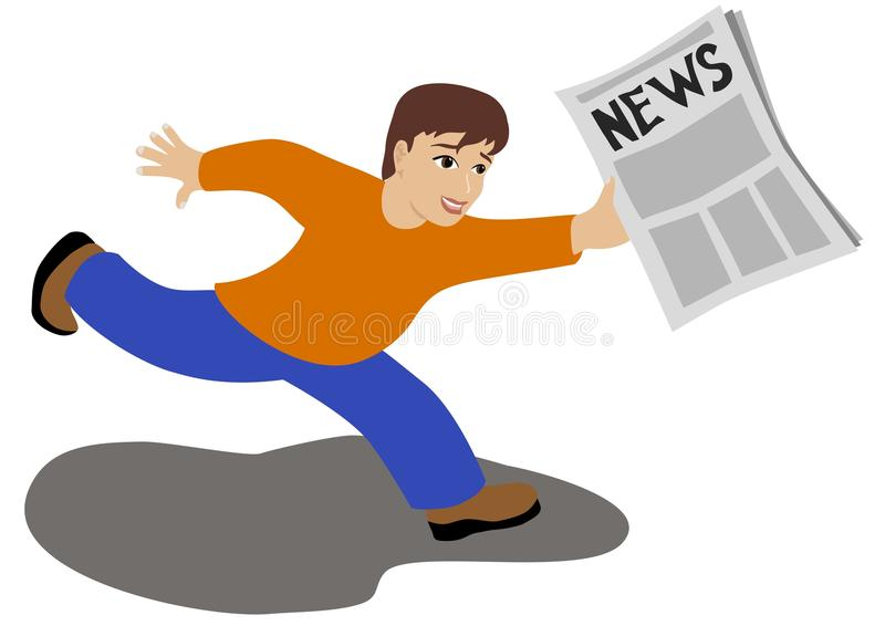 News. Boy runs with a newspaper in his hands bearing the good news stock illustration