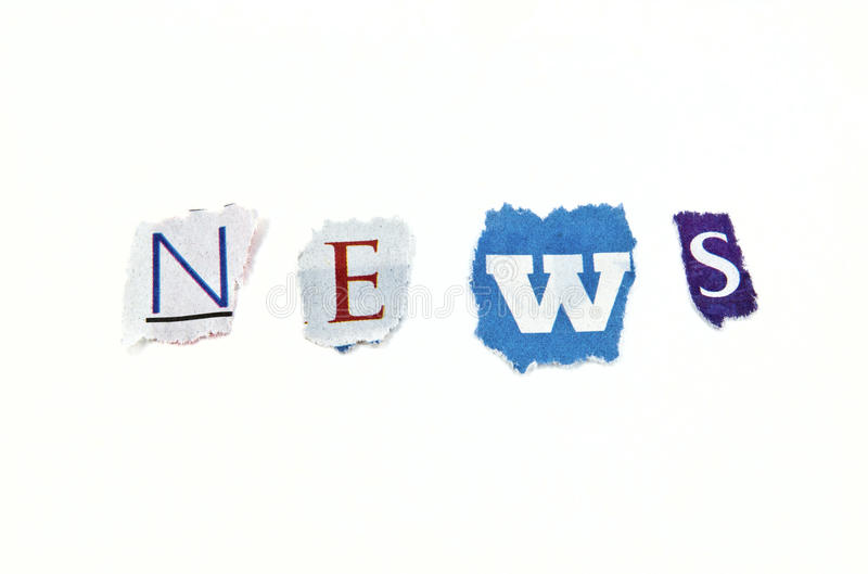 News. The word NEWS using a mix of torn paper royalty free stock photos