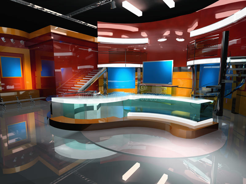 News 3-d Virtual Set in red. For broadcast stock illustration
