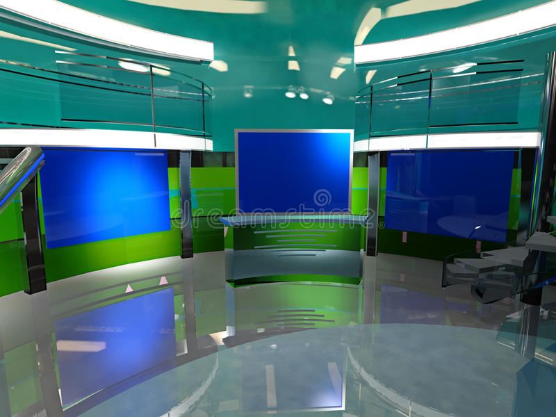News 3d Virtual Set. Close up royalty free illustration