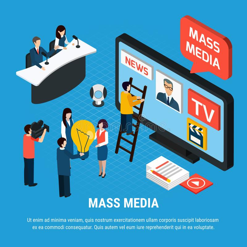 News Agency Isometric Background. Photo video isometric background composition with mass media news reporters and journalist characters with editable text vector stock illustration